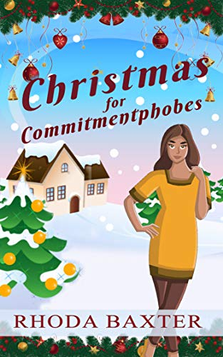 Book cover Christmas For Commitmentphobes. SE Asian girl with snowy festive background