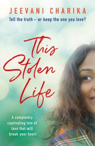 Book cover for This Stolen Life by Jeevani Charika. Asian woman smiling with book title text.